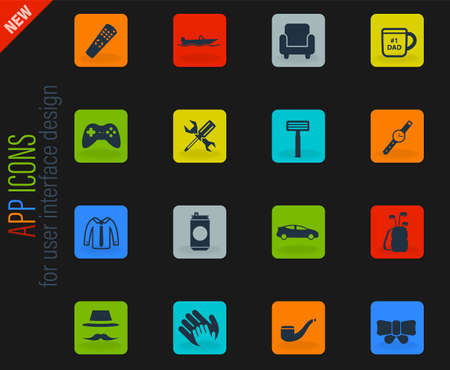 Fathers day simply symbols for web icons