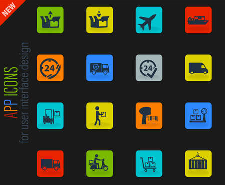 Delivery vector color web icons on dark background for user interface design Vettoriali