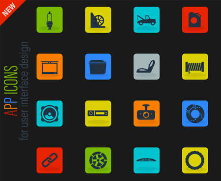 Car shop vector color web icons on dark background for user interface design