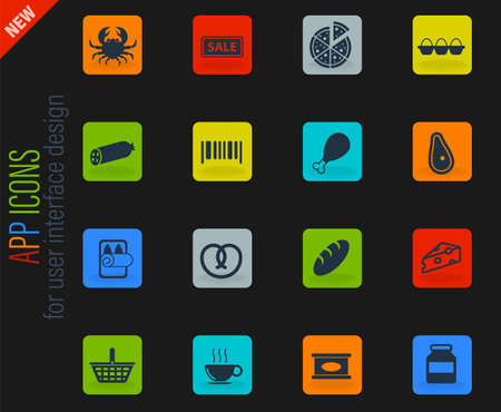 Grocery vector color web icons on dark background for user interface design Vectores