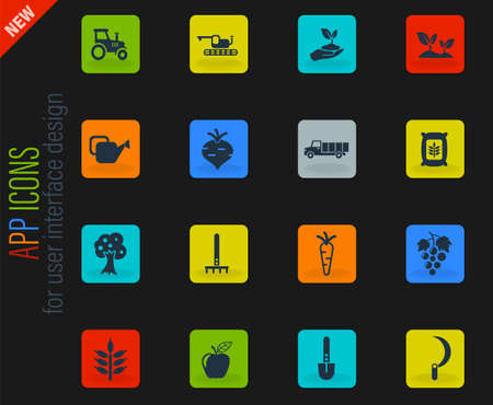 agricultural vector icons for web and user interface design