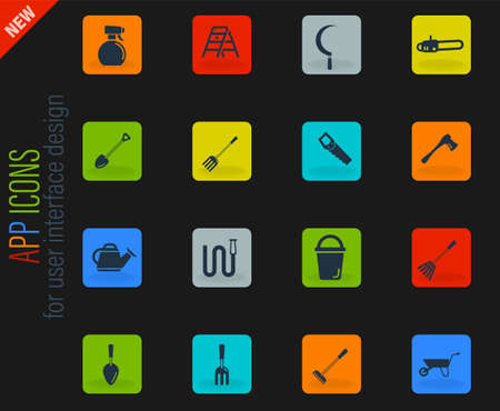Garden tools simply symbol for web icons Vectores