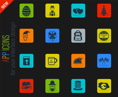 Holidays vector color web icons on dark background for user interface design Illustration