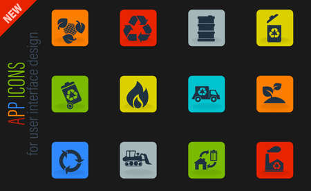 Recycle vector color web icons on dark background for user interface design
