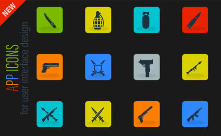 Weapon vector color web icons on dark background for user interface design