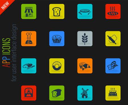 bakery web icons for user interface design Illustration