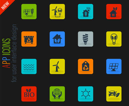 alternative energy vector icons for web and user interface design