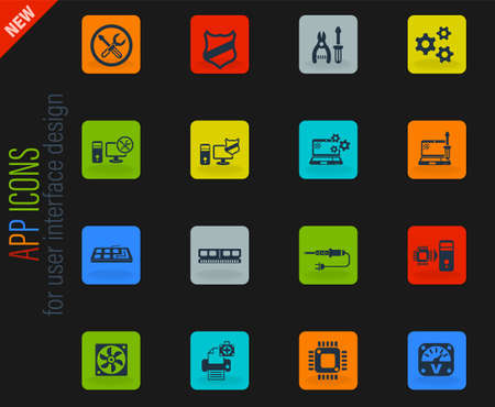 computer repair vector color web icons on dark background for user interface design
