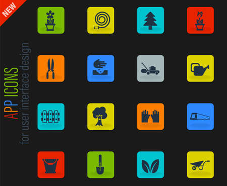 landscape design vector icons for web and user interface design Vectores
