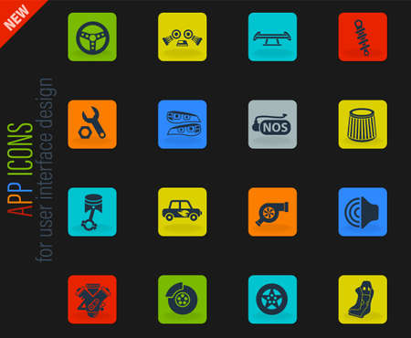 auto tuning web icons for user interface design Vektoros illusztráció