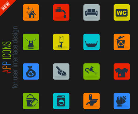 cleaning company vector color web icons on dark background for user interface design Vectores