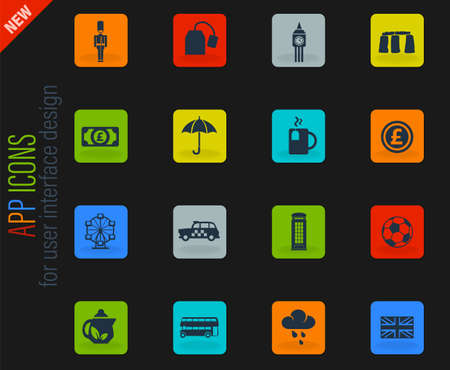 england vector color web icons on dark background for user interface design