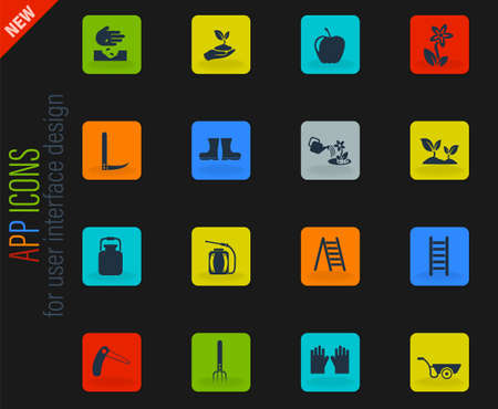 gardening vector color web icons on dark background for user interface design Vectores