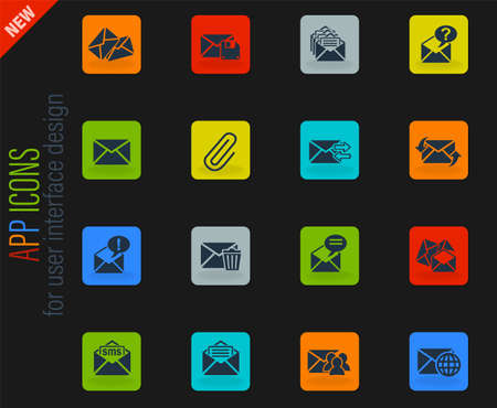 mail and envelope web icons for user interface design 向量圖像