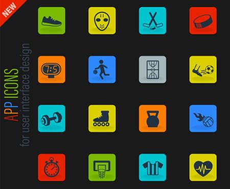 sport vector color web icons on dark background for user interface design Ilustracje wektorowe