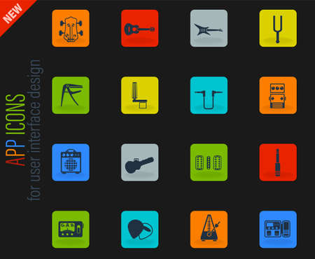 guitar and accessories web icons for user interface design