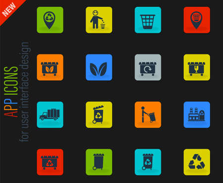 garbage vector color web icons on dark background for user interface design