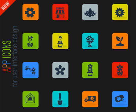 flowers vector icons for web and user interface design