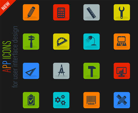 engineering web icons for user interface design Illustration