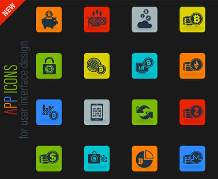 Bitcoin and cryptocurrency vector color web icons on dark background for user interface design Vectores