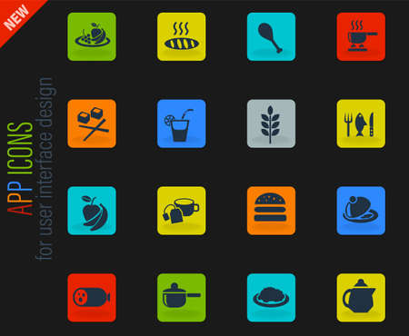 food and kitchen vector color web icons on dark background for user interface design Illustration