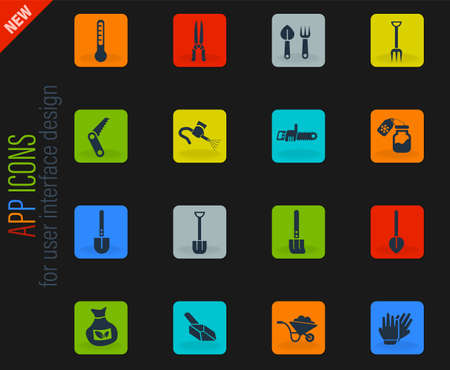 garden tools web icons for user interface design
