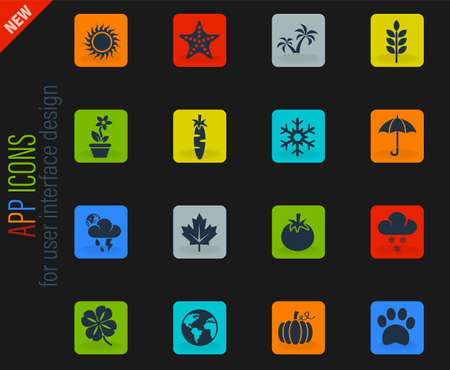 nature vector color web icons on dark background for user interface design Çizim