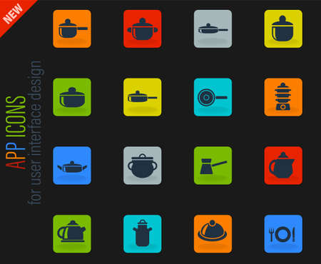 dishes web icons for user interface design