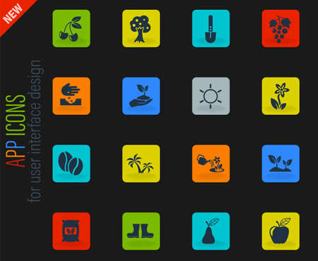 plants vector icons for web and user interface design