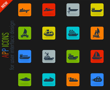 water transport web icons for user interface design Illustration