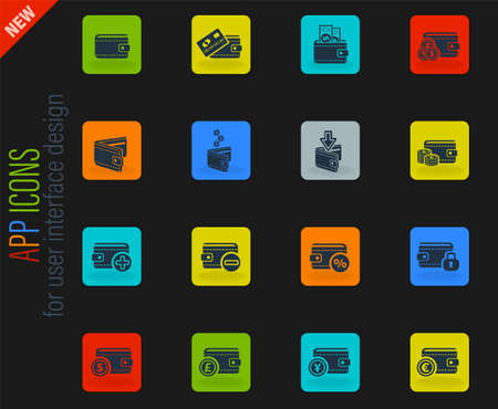 set of money icons for web and user interface Vettoriali