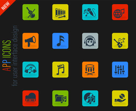 music vector color web icons on dark background for user interface design Ilustração Vetorial