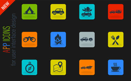 Tourism and Travel simply symbols for web and user interface Vector Illustratie