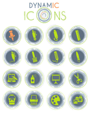 art tools web icons with dynamic lines for animation for user interface design