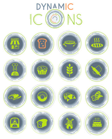 bakery web icons on white background with dynamic lines for animation Illustration