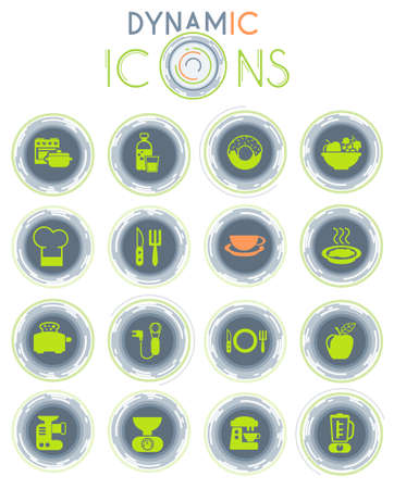 food and kitchen vector icons on white background with dynamic lines for animation for web and user interface design