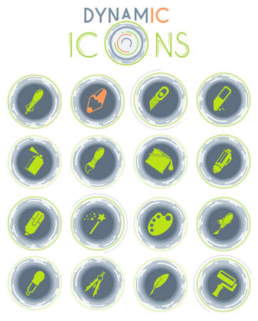 Design tools simply icons on white background with dynamic lines for animation for web and user interface
