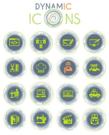 courses web icons on white background with dynamic lines for animation for user interface design Stock Illustratie