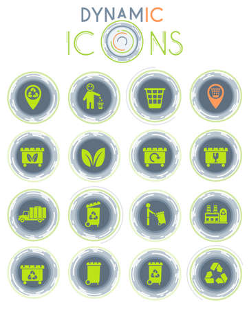 garbage vector icons on white background with dynamic lines for animation Vectores