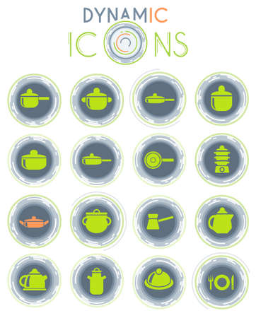 dishes web icons on white background with dynamic lines for animation for user interface design