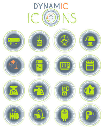 home appliances vector icons on white background with dynamic lines for animation for web and user interface design