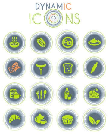 food and kitchen web icons on white background with dynamic lines for animation for user interface design