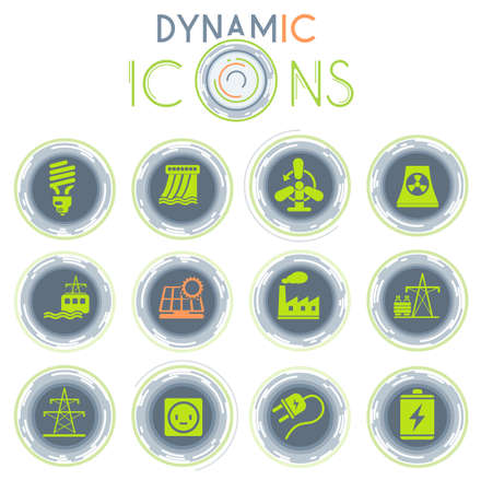 Energy and Industry simply symbols on white background with dynamic lines for animation for web and user interface