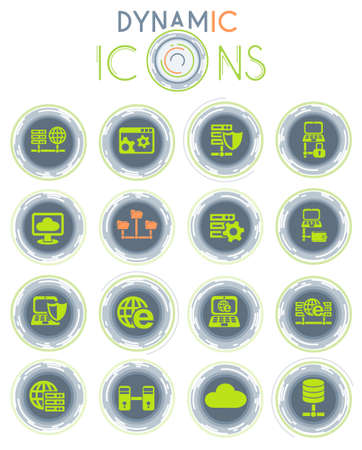 server vector icons on white background with dynamic lines for animation for web and user interface design