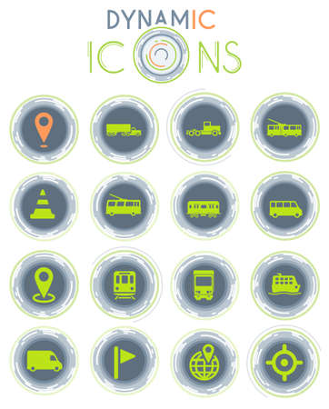 Navigation vector icons on white background with dynamic lines for animation for web and user interface design