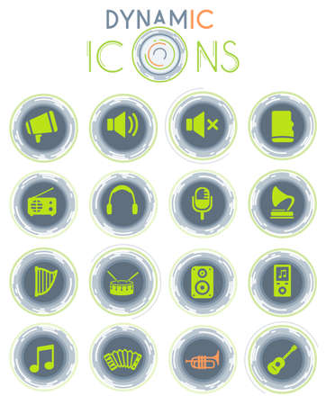 Music vector icons on white background with dynamic lines for animation for web and user interface design