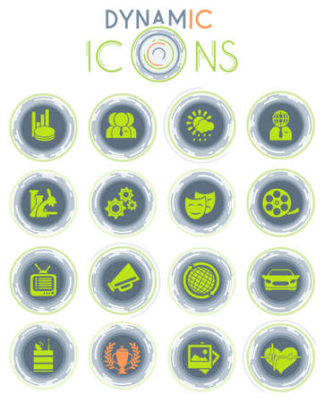 Media vector icons on white background with dynamic lines for animation for web and user interface design