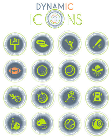 sport vector icons on white background with dynamic lines for animation for web and user interface design