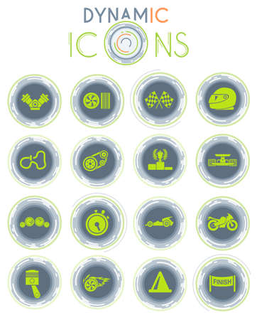 Racing vector icons on white background with dynamic lines for animation for web and user interface design