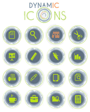 office vector icons on white background with dynamic lines for animation for web and user interface design Vettoriali